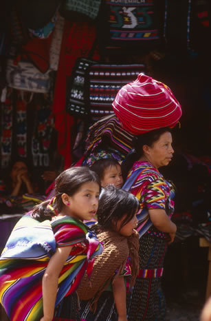 Family in market, Guatemala