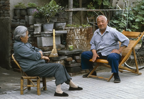 A couple take tea in Bejing