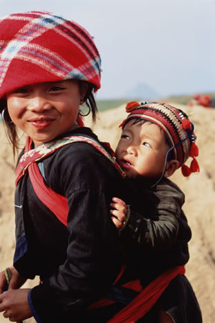 Two young children in North Vietnam