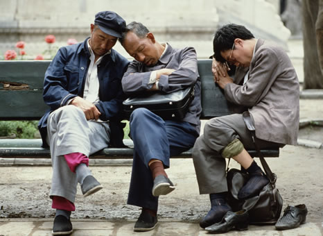 Men sleeping, Bejing, China